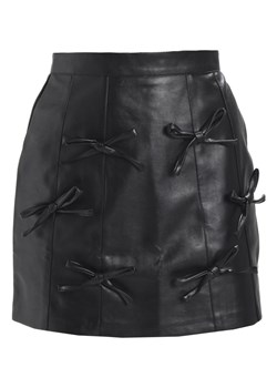 Lost Ink PU BOW DETAIL MINI SKIRT Spódnica mini black