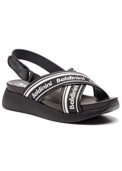 Sandały damskie Baldinini w nadruki na koturnie na rzepy w