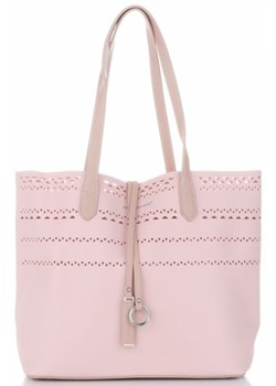 Shopper bag David Jones matowa bez dodatków różowa
