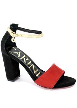 Carinii sandały damskie na obcasie eleganckie skórzane w Domodi