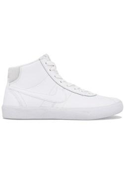 Buty sportowe damskie Nike do koszykówki bez wzorów białe casual sznurowane skórzane