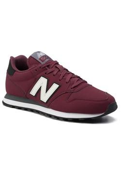 Buty sportowe męskie New Balance ze skóry ekologicznej czerwone wiosenne sznurowane
