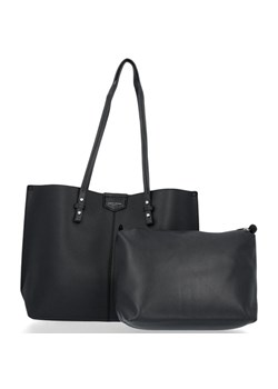 Czarna shopper bag David Jones na ramię elegancka