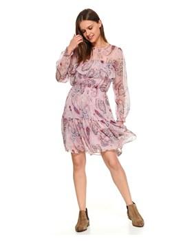 Sukienka Top Secret z okrągłym dekoltem różowa mini w abstrakcyjnym wzorze  na spacer