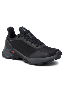Buty sportowe damskie Salomon czarne wiązane na płaskiej podeszwie bez wzorów