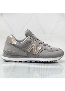 Buty sportowe damskie New Balance gladkie szare na wiosne sznurowane
