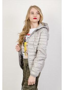 Płaszcz puchowy ze skośnym zamkiem czarny cocomoda pl szary jesień
