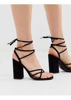 Czarne sandały na transparentnym obcasie Becky