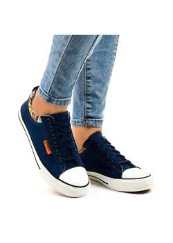 Granatowe Trampki Navy Blue Heeled Sneakers born2be pl czarny na obcasie