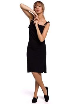 Obcisła bawełniana sukienka dzienna w prążek czarna Papilion